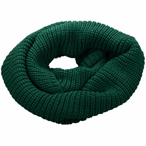 NEOSAN Womens Thick Ribbed Knit Winter Infinity Circle Loop Scarf Dark Green (Forest Ribbed)