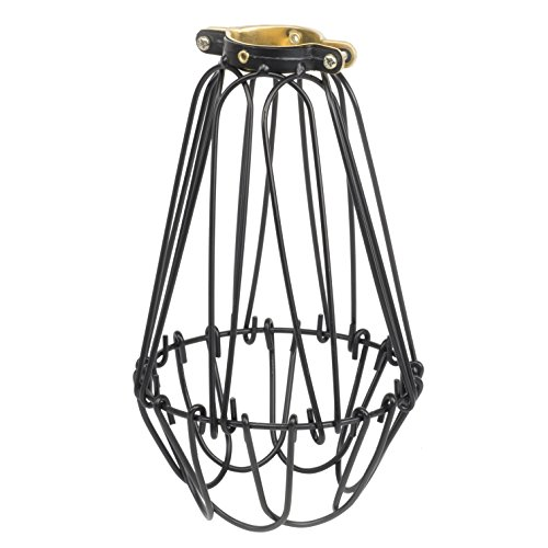 (Rustic State Industrial Vintage Style Metal Wire Light Cage Guard For DIY Lighting Fixtures - Adjustable Cage Openings To Different Styles (Black))