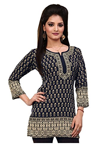 Indian Tunic Top Womens Kurti Printed Blouse Kurta India Clothes – XS…Bust 32 inches, Black