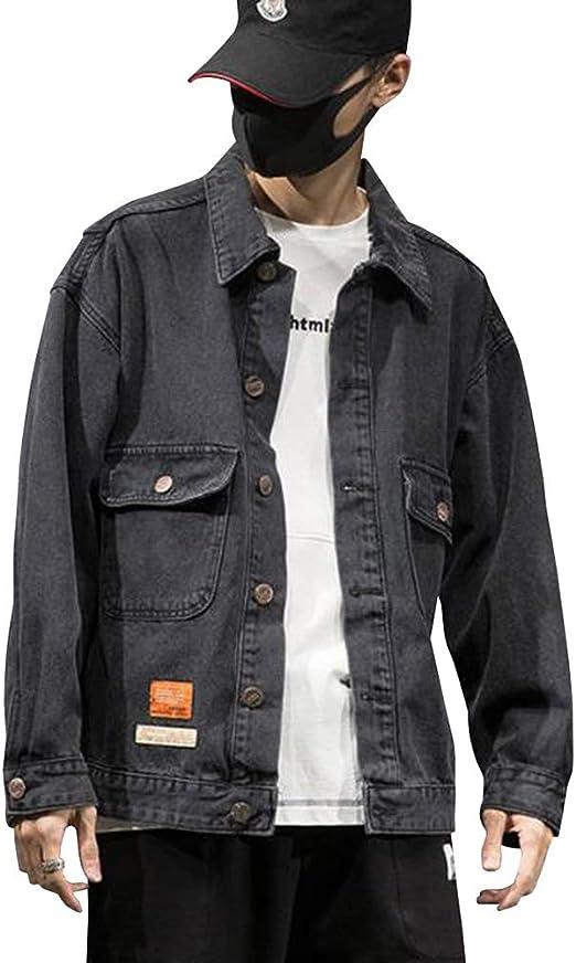 Feellway メンズ アウター デニムジャケット 春秋 ジャンパー シンプル ゆったり ジャケット ストリート 韓国ファッション スタジャン C0465