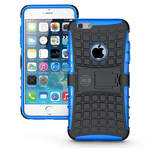 iPhone 6 plus or 6S Plus Armor cases 6 plus Tough Rugged Shockproof Armorbox Dual Layer Hybrid Hard or Soft Slim Protective Case by Cable and Case by Blue Armor Case (Style Silicone Rubber Case)