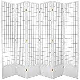 Oriental Furniture Best Quality Extra Tall, 7-Feet Window Pane Japanese Shoji Screen Room Divider, 6 Panel White
