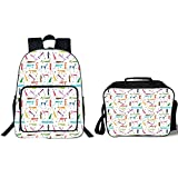 19' School Backpack & Lunch Bag Bundle,Dog Lover,Dachshund Cartoon Doodles with Various Stances Pointing Smelling Running Standing,Multicolor,for Boys Girls