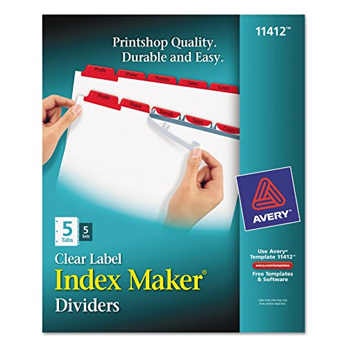 Index Maker(R) Print & Apply Clear Label Dividers with Traditional Color Tabs, 8-1/2