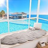 WAN SAN QIAN- Economy Wool Carpets Floating Window Mats Rectangular Living Room Carpet European Bedside Carpet Thicker Balcony Cushion Rug ( Color : Gray , Size : 90x180cm )