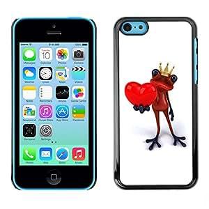 TopCaseStore / la caja del caucho duro de la cubierta de protección de la piel - King Crown White Frog Love Minimalist - Apple iPhone 5C