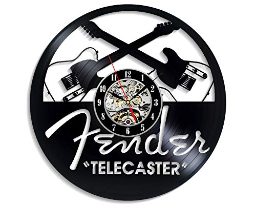 Levescale - Fender-Telecaster Vinyl Wall Clock for Her, Him, Boyfriend - Decoration for Bedroom, Living Room - Stratocaster - Telecaster - Professional Music - Acoust ()