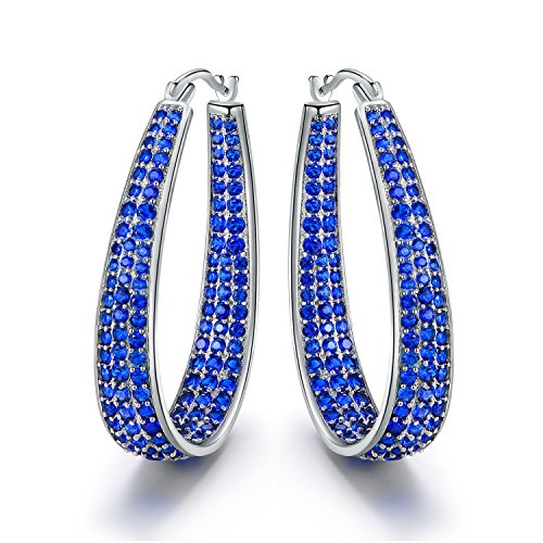 18K White Gold plated Inside-Out CZ Hoop Earrings (Multiple Color/Stone Options)-Blue