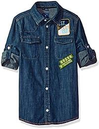 GUESS Big Boys' Long Sleeve Denim Patch Shirt