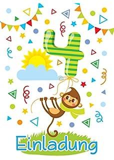 Schön 12 Einladungskarten Zum 4. Kindergeburtstag Für Jungen/Mädchen / Bunte  Einladungen Zum Geburtstag Für