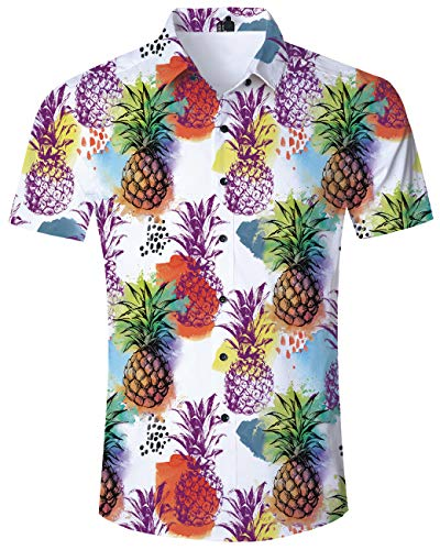 Mens Button Down Shirt Colorful Pineapple Short Sleeve 90S Tropical Hawaiian Dress Shirts Summer Vacation Casual Tops Slim Fit T-Shirt Round Collar ()