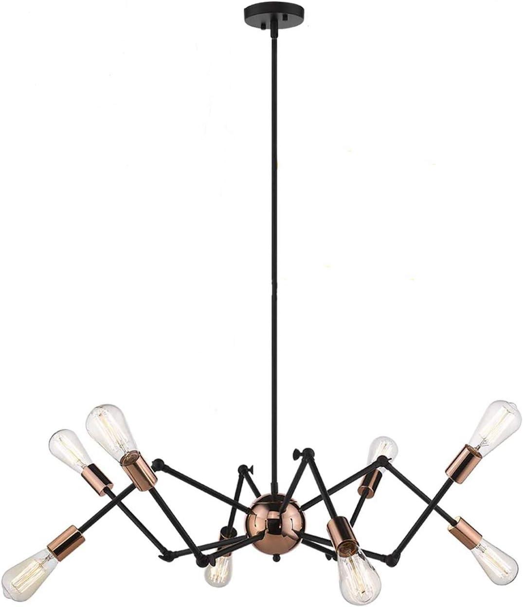Harriet Modern 8-Light Sputnik Chandelier, Starburst Mid Century Pendant Light Adjustable Swing Arms Ceiling Light Fixture for Kitchen, Dining Room, Living Room, Black and Rose Gold Finish, HPL02BRG-8