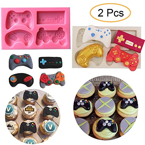 - 2Pcs Game Controller Cake Fondant Mold - XBox Video Game Gamepad Silicone Chocolate Candy Mold for Cupcake Topper Decoration Game Theme Party Ideas Favors Supplies