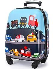 Maleta para niños con ruedas giratorias, carcasa rígida para llevar en rodamiento, para niños pequeños, niñas, regalo de viaje, multicolor/fantasía, Lightweight 18inch