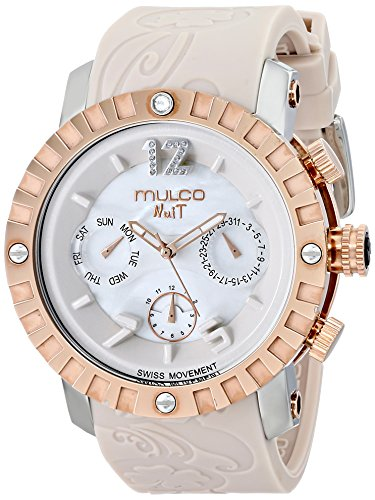 Gold Case Quartz Movement - Mulco Ladies Nuit Lace XL Swiss Quartz Multifunctional Movement Women's Watch, 42mm Case With Mother of Pearl and Rose Gold Accents, Beige Silicone Band