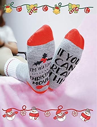 Dealswin Calze natalizie divertenti Christmas Watching Movies Socks If You Can Read This Regalo di calzini fantasia per donne e amanti del