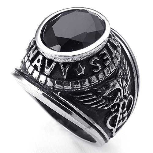 KONOV Jewelry Mens Crystal Stainless Steel Ring, US NAVY Eagle, Black Silver, Size 12
