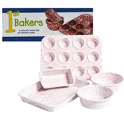 Enamelware 5 Piece Child's Bakeware Set- Pink Marble