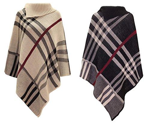 LCL-Nueva Mujeres Check Tartan Compruebe abrigo del mantón del tartán de punto Ponchos Pullover puente superior Piedra
