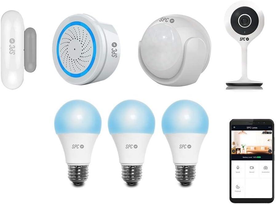SPC Security Starter Kit (2 sensores: movimiento y puertas/ventanas, alarma) + cámara inteligente Wi-Fi Lares (115º) y 3 bombillas inteligentes Wi-Fi Sirius 470 (blanco/color): Spc-Internet: Amazon.es: Electrónica