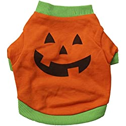 Small Dog Customes, HP95(TM) Pet Dog Sweater Cat Clothes Pet Puppy Halloween Gift Dog Shirt Tops Pumpkin Costumes (XS, Orange)