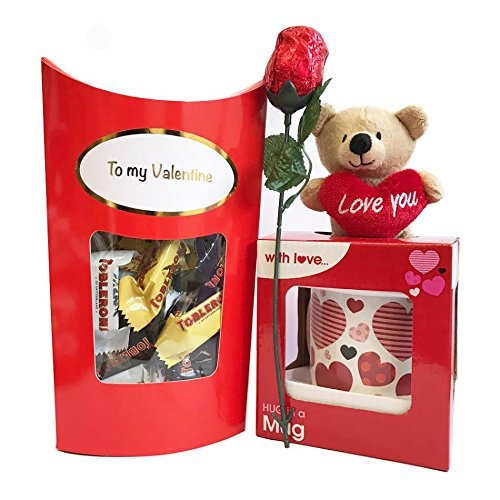 - Valentines Gift Set with Mug and Teddy Bear, Chocolate Rose, Toblerone Chocolates