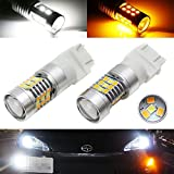 iJDMTOY (2) High Power White/Amber 3157 3357 3457 4157 4357 Switchback LED Bulbs For Front Turn Signal Lights, Powered By SAMSUNG SMD LED