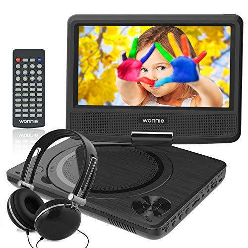 WONNIE 7.5 Inch Portable DVD Player with Swivel Screen, USB / SD Slot and 4 Hours Rechargeable Battery, Perfect Gift for Kids ( Black ) 3.5' Super Ride Kit