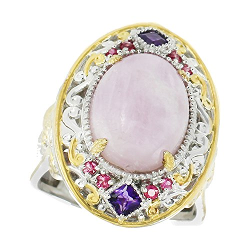 (Michael Valitutti Palladium Silver Kunzite, Amethyst and Pink Sapphire Ring)