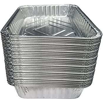 "TYH Supplies Small Disposable 7-1/2-Inch 5-inch BBQ Drip Pan Tray Aluminum Foil Tin Liners Grease Catch Pans Replacement Liner Trays 7.5"" x 5"" Bulk Package (30)"