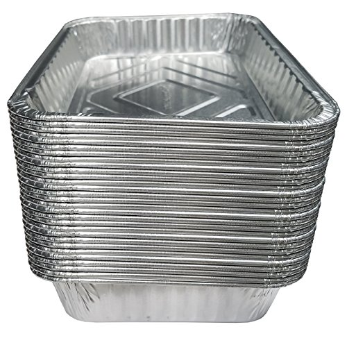 "TYH Supplies Set of 30 Small Disposable 7-1/2-Inch by 5-inch BBQ Drip Pan Tray Aluminum Foil Tin liners for grease catch pans Replacement Liner Trays 7.5"" x 5"" Bulk Package"