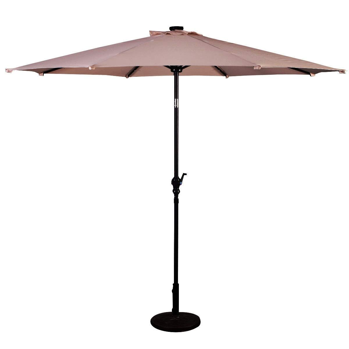 Lucky-gift - Beige 10 ft Patio Solar Umbrella with Crank and LED Lights Outdoor Umbrella with Lights - Outdoor Umbrellas Cover Uv Protecting Waterproof for Table with Led by Lucky-gift