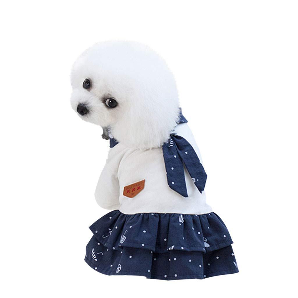 MomentDAY Pet Dog Cut Bottoming Star Print Dress Clothes Cat Lace Breathable Navy Suit Dress XS-XL