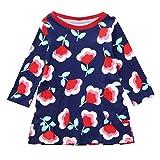 Suma-ma (2-7Y) Children Kids Girls Navy Flower Floral Print Lovely Dress Clothing