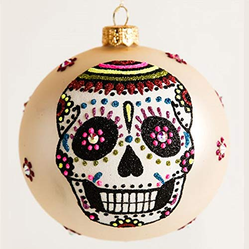 Day of The Dead Wedding Bride and Groom Sugar Skulls Polish Glass Ball Ornament -