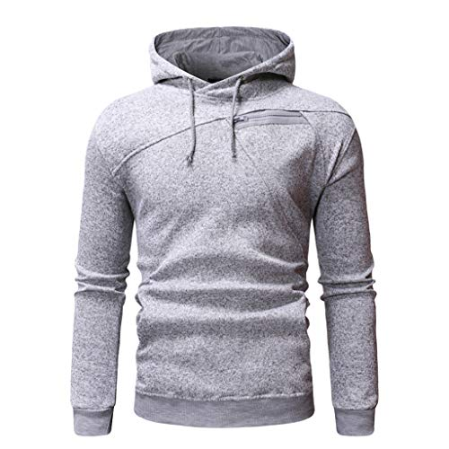 ANJUNIE Hooded Sweatshirts for Men Long Sleeve Splicing Hoodie Hooded Top(Gray,XXL)