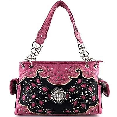 Justin West Rhinestone Buckle Floral Embroidery Laser Cut Handbag Purse