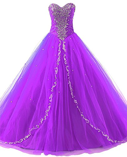 JAEDEN Wedding Sweetheart Long Quinceanera Dresses Formal Prom Dresses Ball Gown Purple US10 (Purple Masquerade Dresses)