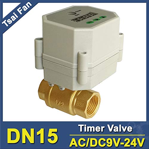 Fincos BSP/NPT 1/2'' Timer Drain Valves 2 Way Brass DN15 Timer Clock On/Off Valves for Water Control/Irrigation - (Specification: NPT DN15)