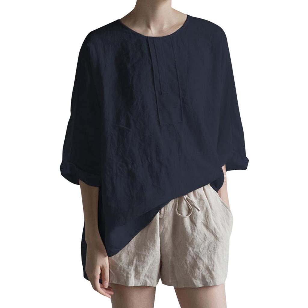 Sttech1 Women Summer 3/4 Sleeve O Neck Cotton Linen Loose Top Shirt Blouse Plus Size S-5XL Navy