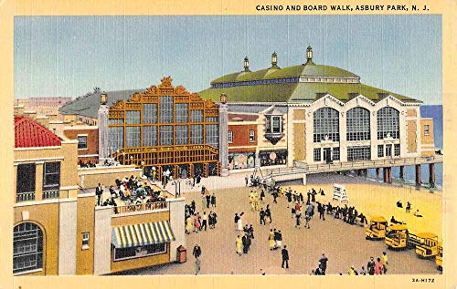 Asbury Park New Jersey Casino Boardwalk Linen Antique Postcard K101919