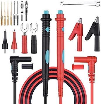 COODENKEY Juego de Cables de Prueba Electrónica de 17, Multímetro Digital Cables con Pinzas de cocodrilo de Las sondas del Multímetro Puntas reemplazables CW06