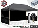Eurmax Premium 10 x 20 Ez Pop up Canopy Fair Tent Event Canopy Instant Party Gazebo Commercial Grade Bonus Wheeled Storage Bag + Four(4) Weight Bags (Black)