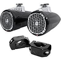 Pair Rockford Fosgate PM2652W-B 6.5 340w Marine Wakeboard Tower Speakers+Clamps