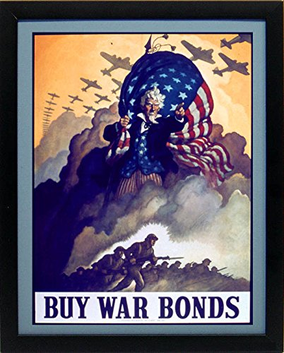World War II Uncle Sam Poster War Bonds 1942 - patriotic wall decor
