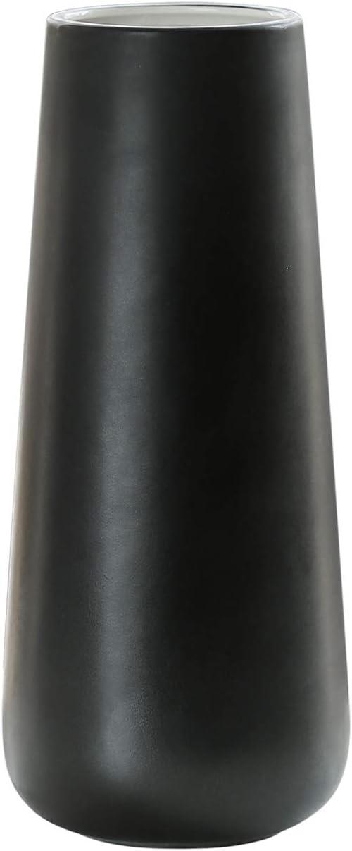 Ceramic Flower Vase for Home Décor, Design Box Package, 11 Inch, Matte Black