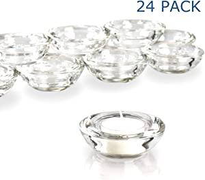 Elivia Clear Tealight Candle Holders - Set of 24, Round Chunky Glass Candle Holder, 3