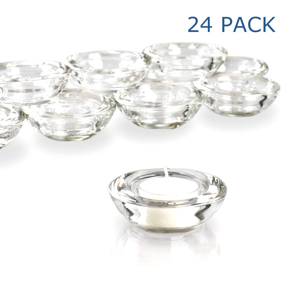 Elivia Clear Tealight Candle Holders - Set of 24, Round Chunky Glass Candle Holder, 3'' Diameter