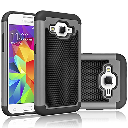 Core Prime Case, Tekcoo(TM) [Tmajor Series] [Grey/Black] Shock Absorbing Hybrid Rubber Plastic Impact Defender Rugged Hard Protective Case Cover Shell for Samsung Galaxy Core Prime/Prevail LTE