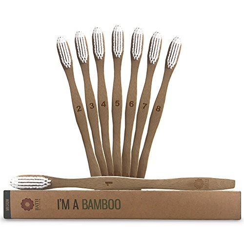 Bamboo Toothbrush Medium Bristles - 8 Pack Wooden Toothbrushes, Eco Friendly, Recyclable, BPA Free, Biodegradable Vegan Friendly, Organic Natural Tooth Brush